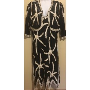 2-Piece Black/White Modelia Dress Bolero Shrug